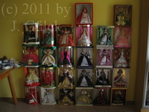 My Holiday Barbie dolls from 1988 to 2011