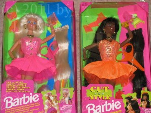 blonde & black haired Cut & Style Barbie dolls