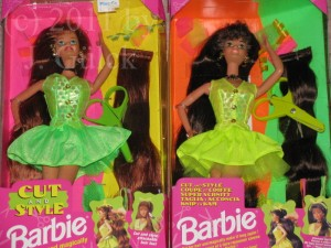 red & brown haired Cut & Style Barbie dolls
