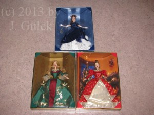 All three Barbie dolls from the Holiday Treasures series